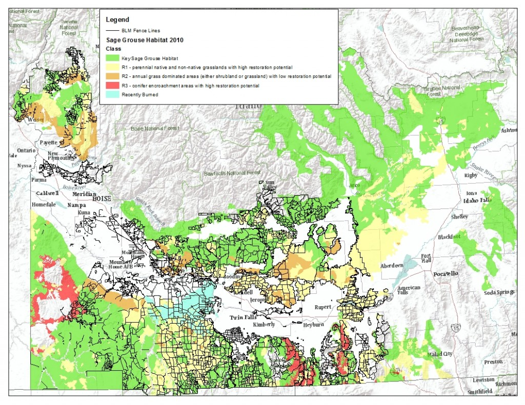 Sage Grouse Habitat and Fences in southwest Idaho.  The data is incomplete, especially for Owyhee County.