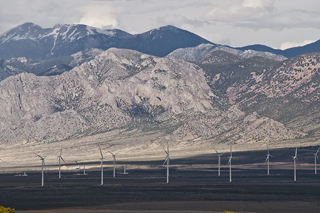 Wind farm in Spring Valley up against the Snake Mountain Range